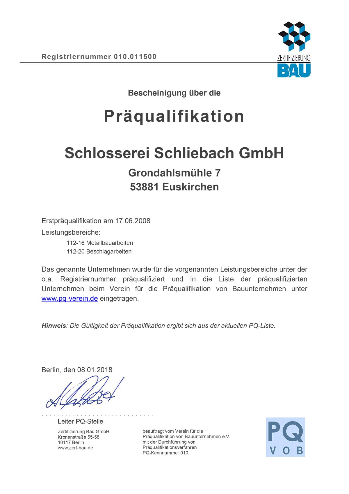Praequalifikation_Schliebach_1150_2018 - Zertifikate